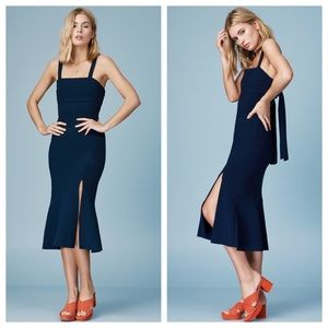 Finders Keepers Tribute Navy Blue Midi Dress NEW